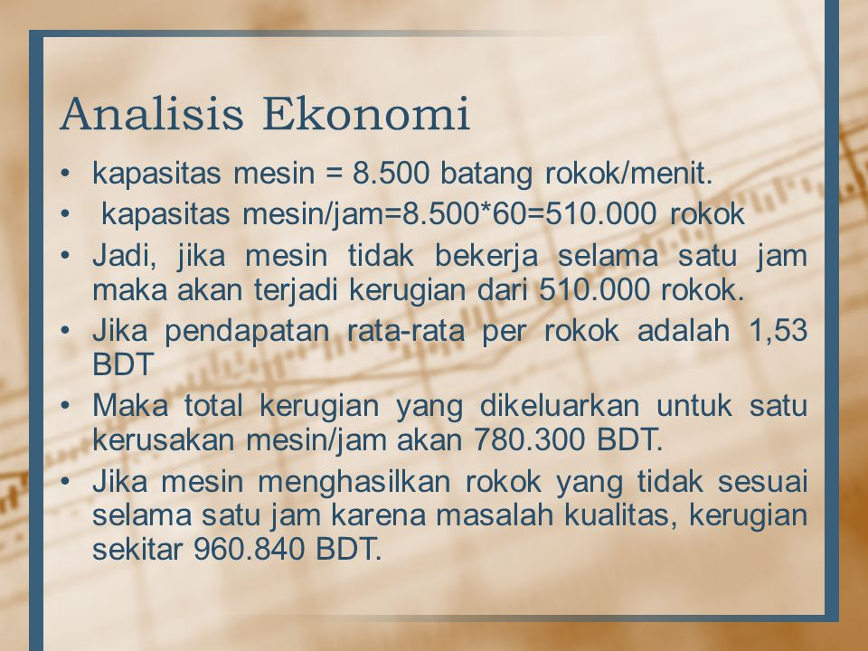 Analisis Ekonomi kapasitas mesin = 8.500 batang rokok/menit.