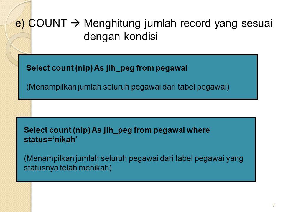 e) COUNT  Menghitung jumlah record yang sesuai dengan kondisi