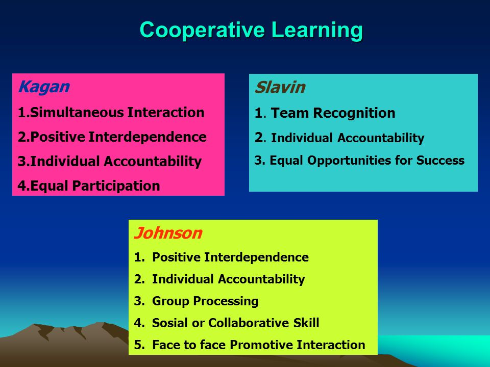 cooperative learning for positive interdependence Such as positive interdependence theory of cooperative learning cooperative learning is the cooperative learning techniques in the social studies.