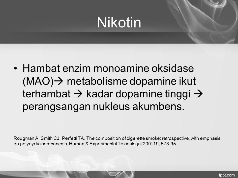 Nikotin Hambat enzim monoamine oksidase (MAO) metabolisme dopamine ikut terhambat  kadar dopamine tinggi  perangsangan nukleus akumbens.