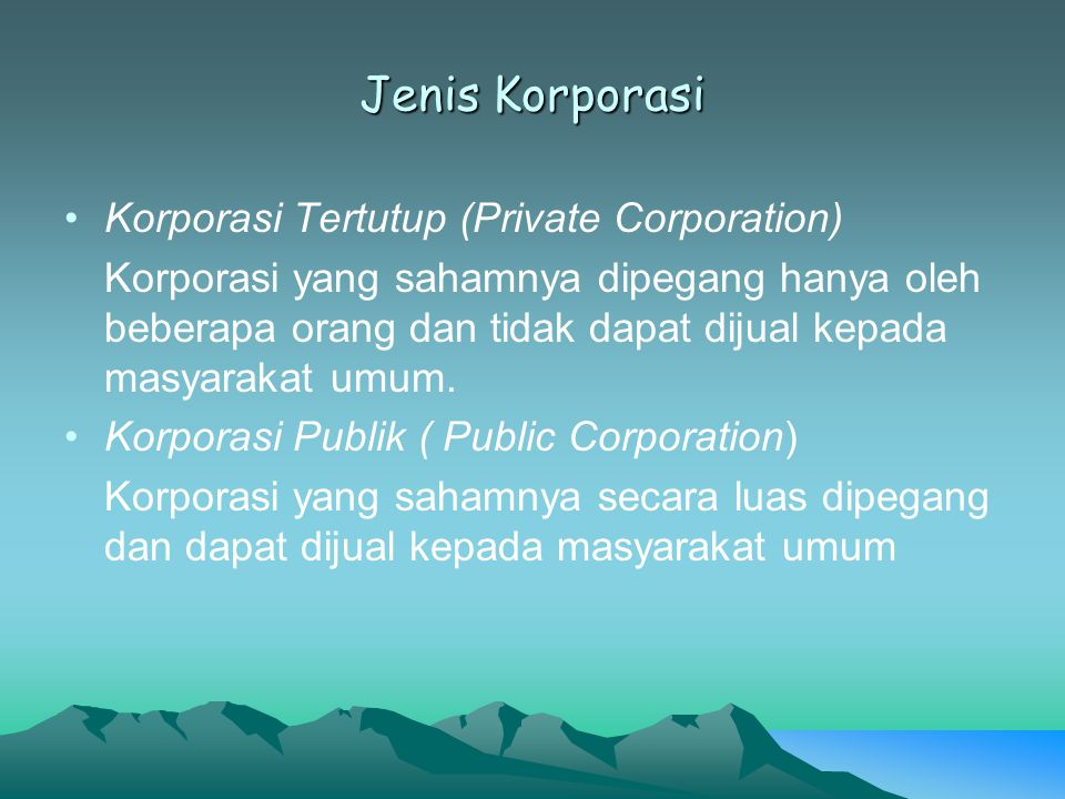 Jenis Korporasi Korporasi Tertutup (Private Corporation)