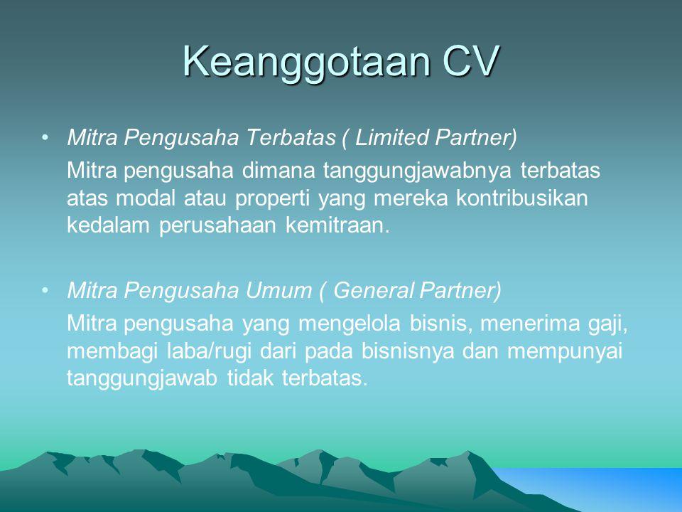 Keanggotaan CV Mitra Pengusaha Terbatas ( Limited Partner)