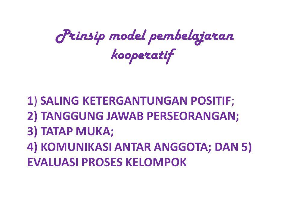 Prinsip model pembelajaran kooperatif