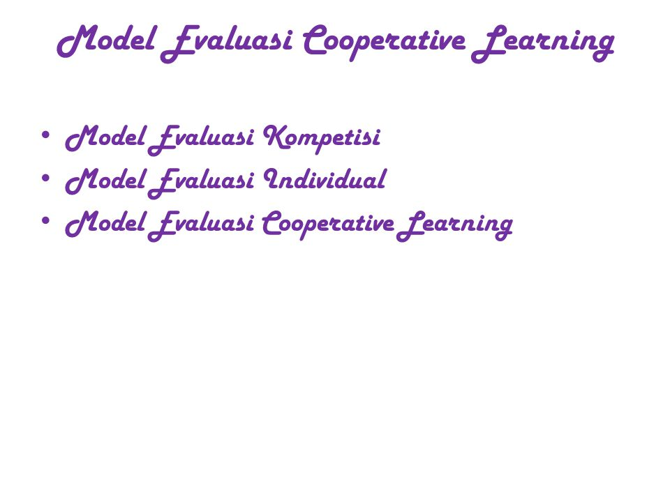 Model Evaluasi Cooperative Learning