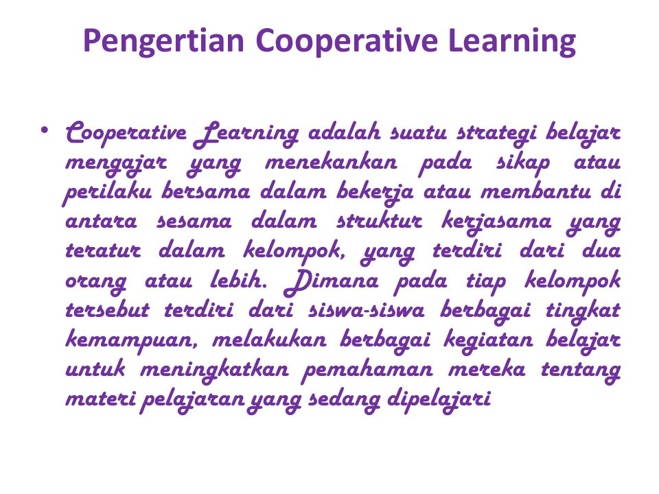 Pengertian Cooperative Learning
