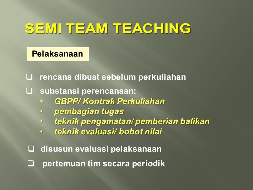 SEMI TEAM TEACHING Pelaksanaan rencana dibuat sebelum perkuliahan