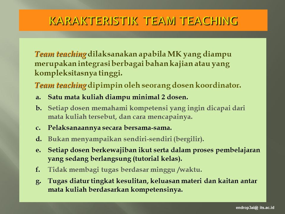 KARAKTERISTIK TEAM TEACHING