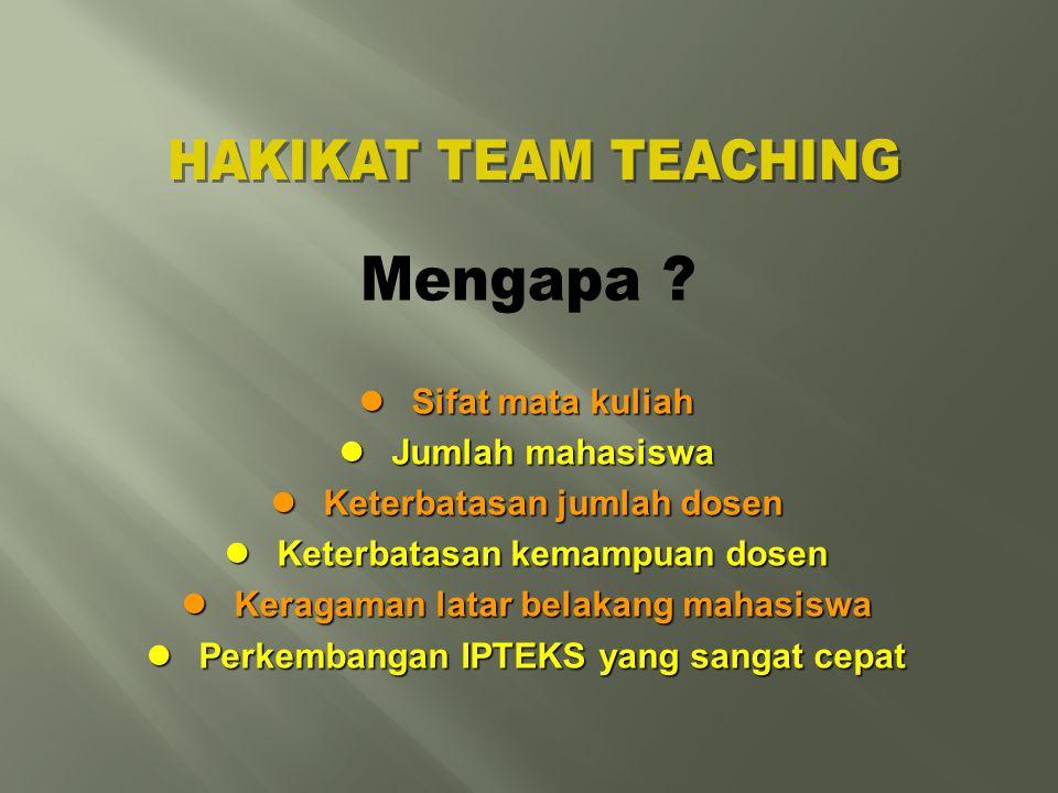 HAKIKAT TEAM TEACHING Mengapa Sifat mata kuliah Jumlah mahasiswa