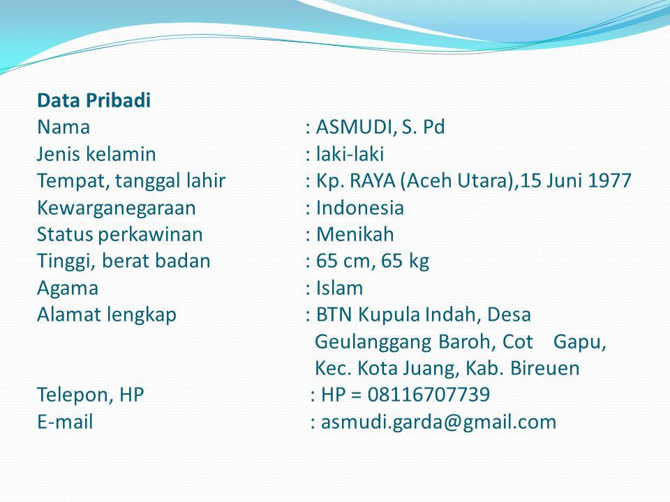 Data Pribadi Nama. : ASMUDI, S. Pd Jenis kelamin