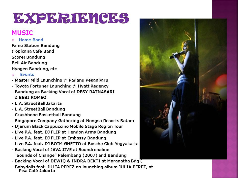 EXPERIENCES MUSIC Home Band Fame Station Bandung tropicana Cafe Band