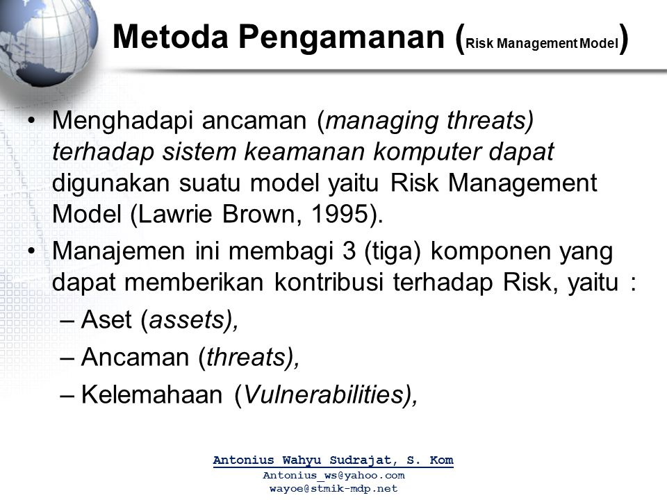Metoda Pengamanan (Risk Management Model)