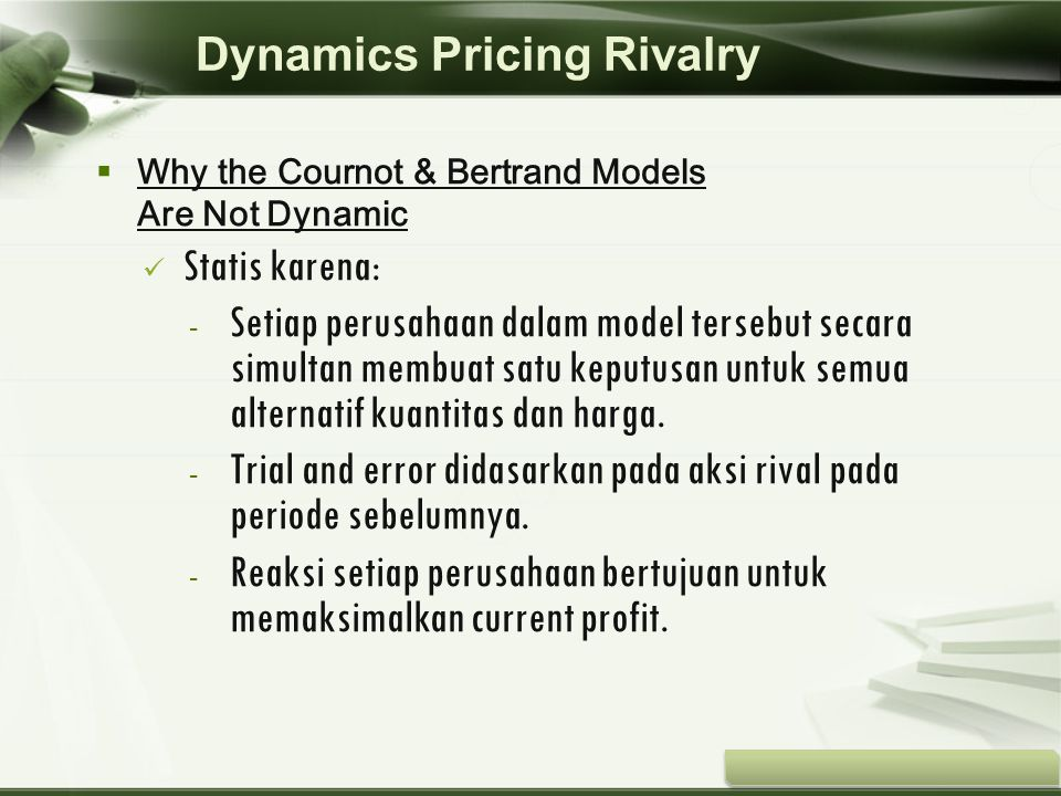 Dynamics Pricing Rivalry