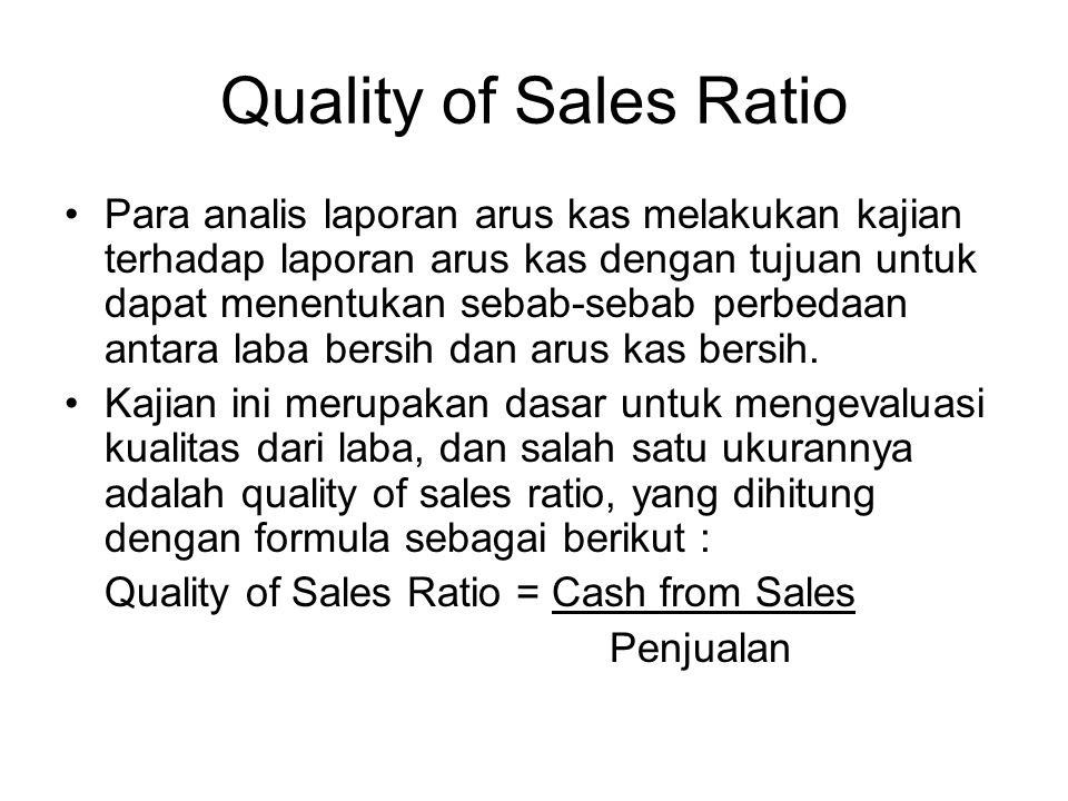Quality of Sales Ratio