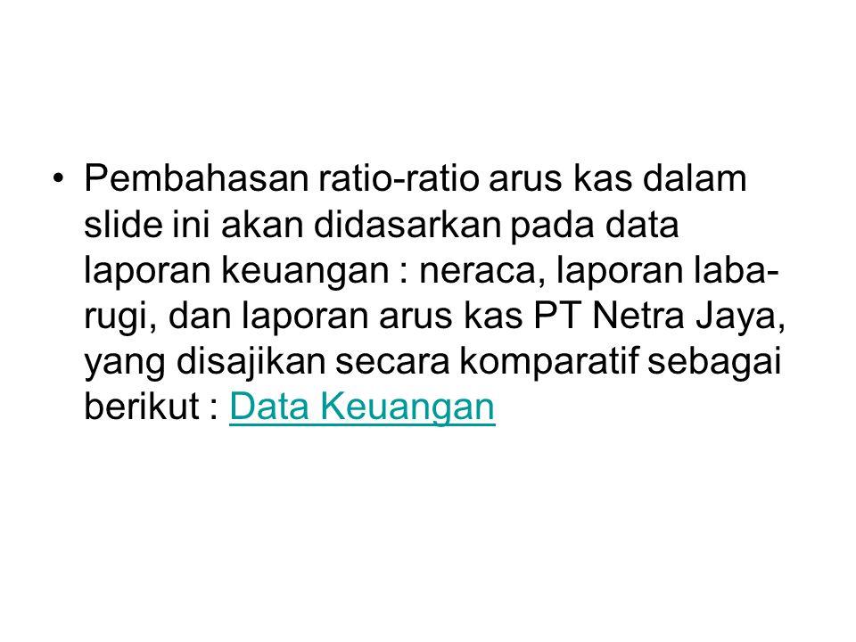 Pembahasan ratio-ratio arus kas dalam slide ini akan didasarkan pada data laporan keuangan : neraca, laporan laba-rugi, dan laporan arus kas PT Netra Jaya, yang disajikan secara komparatif sebagai berikut : Data Keuangan