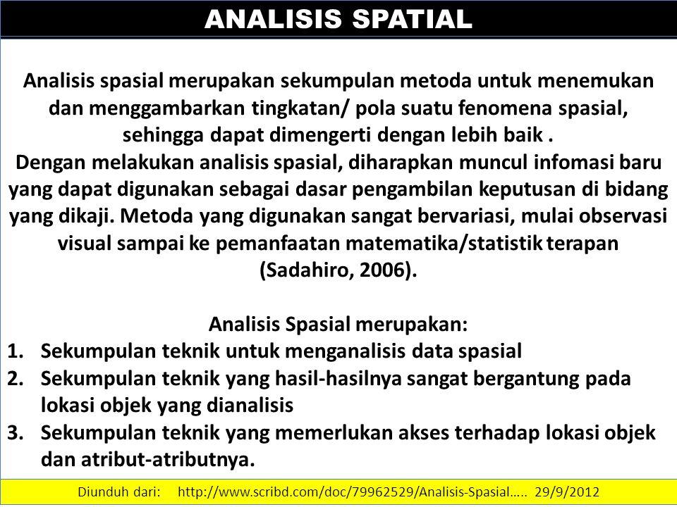 Analisis Spasial merupakan: