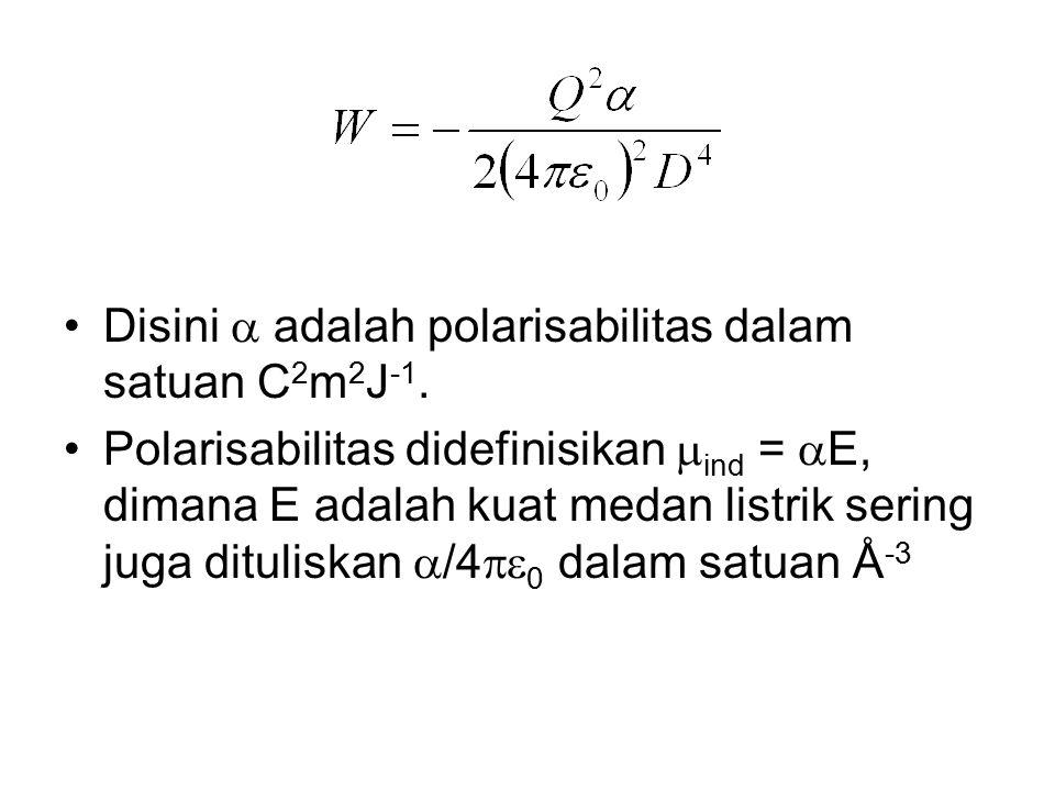 Disini  adalah polarisabilitas dalam satuan C2m2J-1.