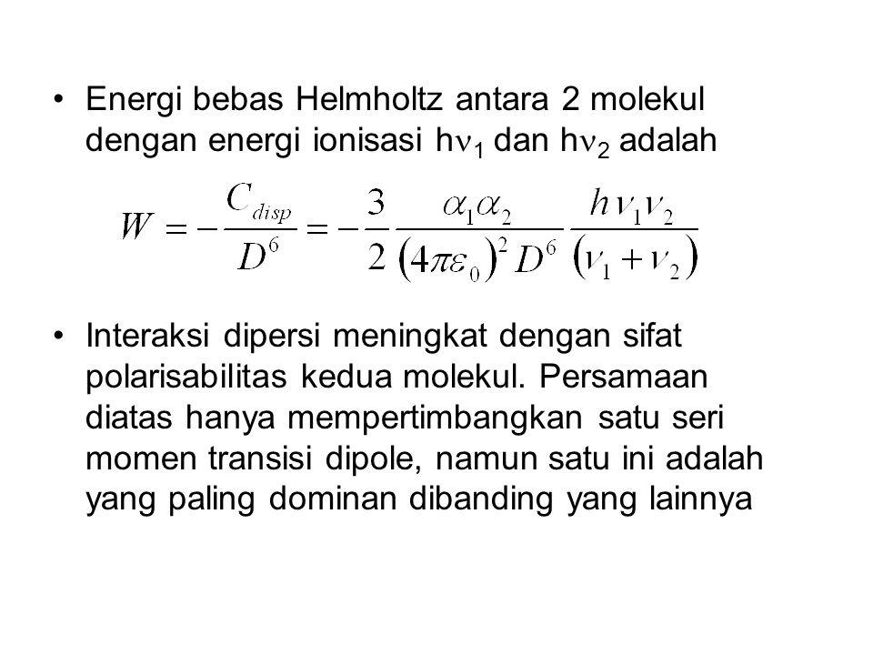 Energi bebas Helmholtz antara 2 molekul dengan energi ionisasi h1 dan h2 adalah