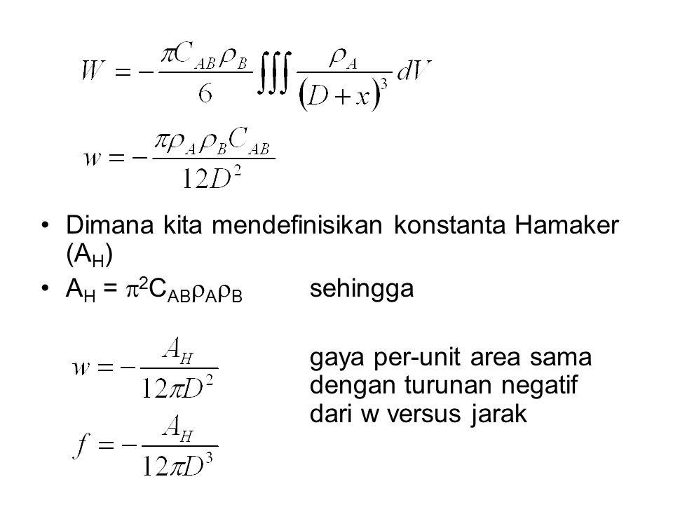 Dimana kita mendefinisikan konstanta Hamaker (AH)