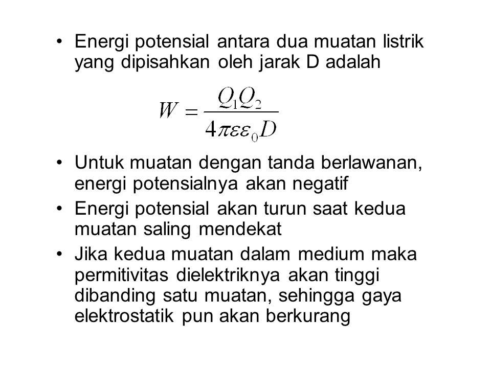Energi potensial antara dua muatan listrik yang dipisahkan oleh jarak D adalah