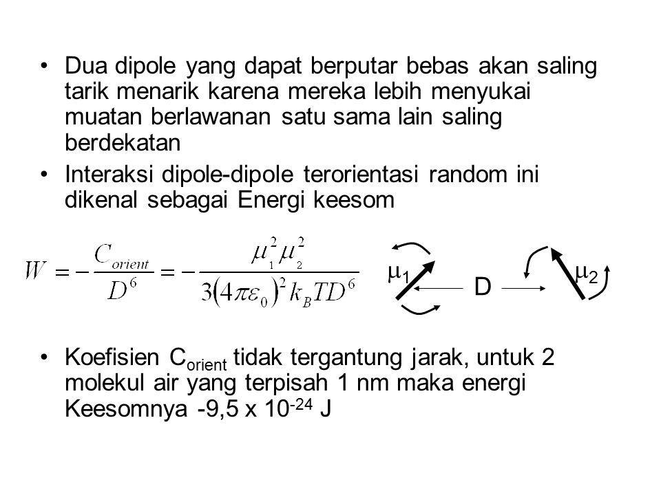 Dua dipole yang dapat berputar bebas akan saling tarik menarik karena mereka lebih menyukai muatan berlawanan satu sama lain saling berdekatan