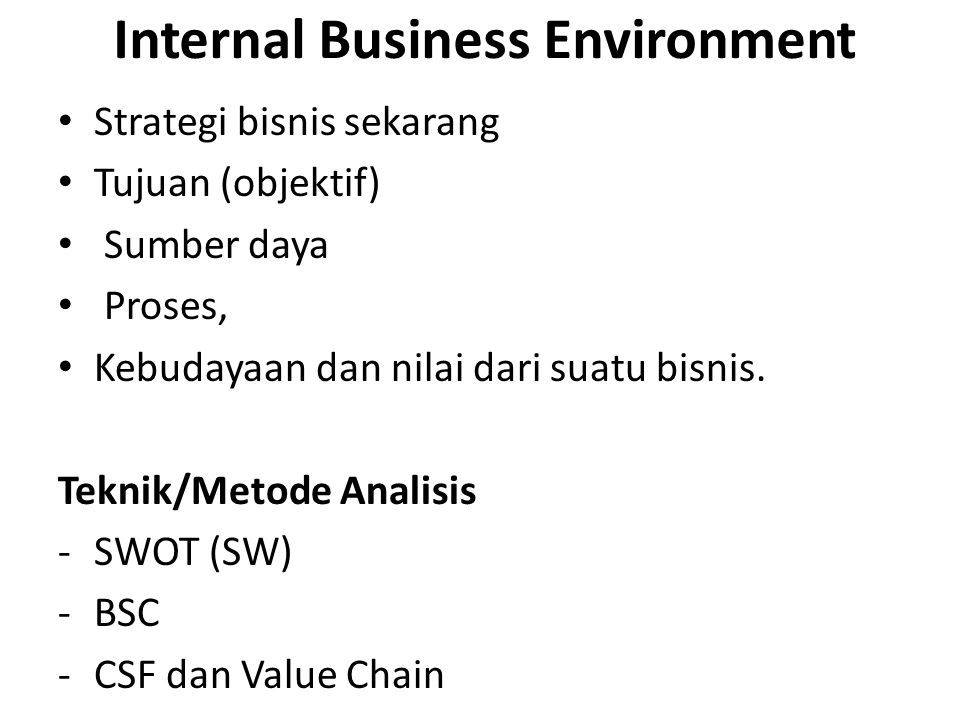 Internal Business Environment