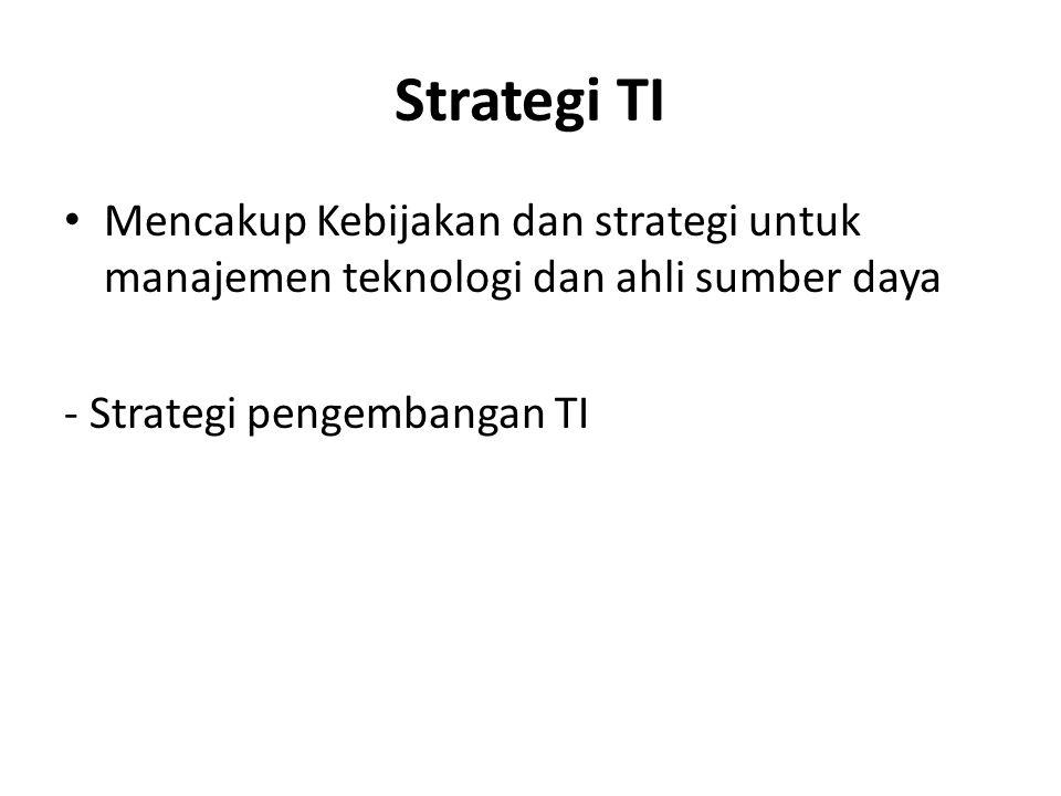 Strategi TI Mencakup Kebijakan dan strategi untuk manajemen teknologi dan ahli sumber daya.