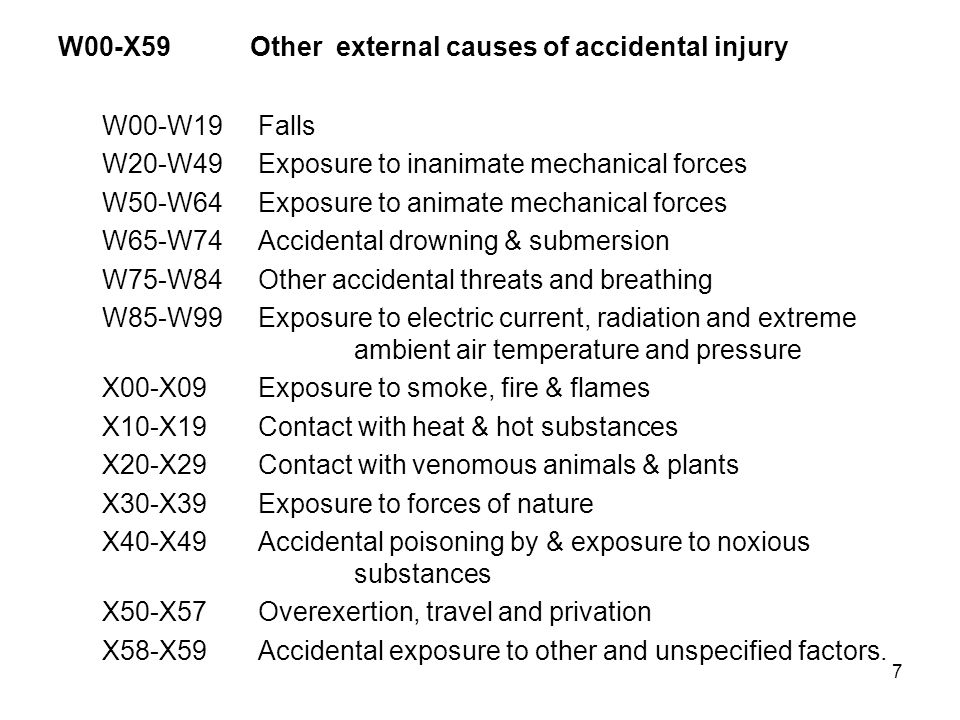 W00-X59 Other external causes of accidental injury