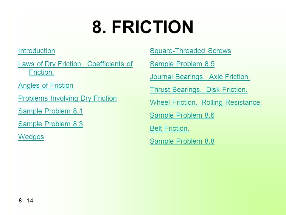 8. FRICTION Introduction