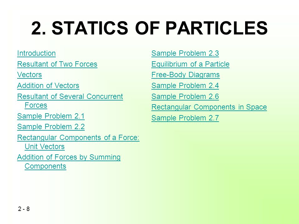 2. STATICS OF PARTICLES Introduction Resultant of Two Forces Vectors