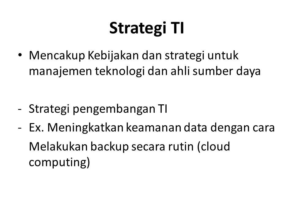 Strategi TI Mencakup Kebijakan dan strategi untuk manajemen teknologi dan ahli sumber daya. Strategi pengembangan TI.