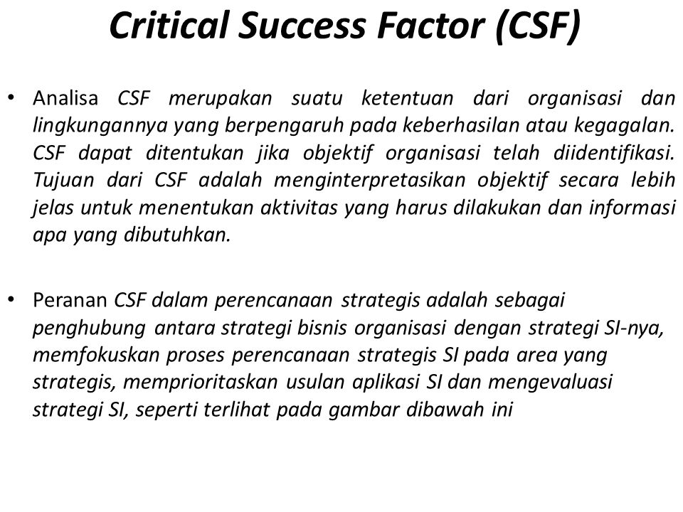 Critical Success Factor (CSF)