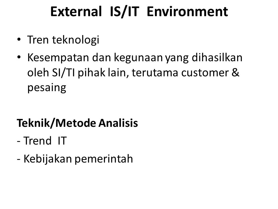 External IS/IT Environment