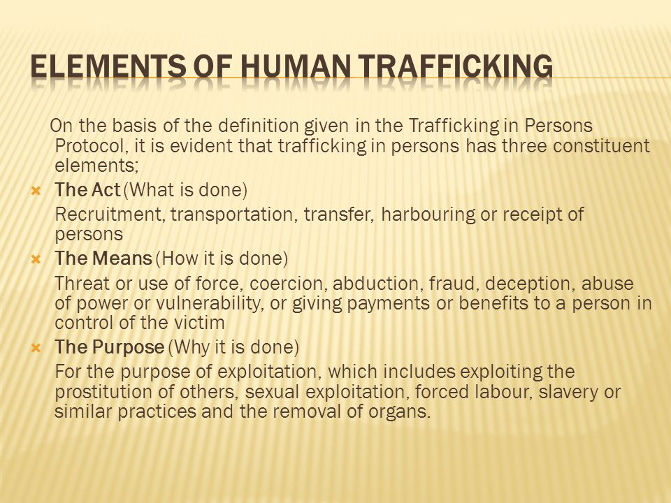 Elements of human trafficking