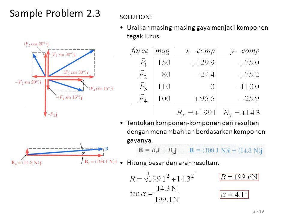 Sample Problem 2.3 SOLUTION: