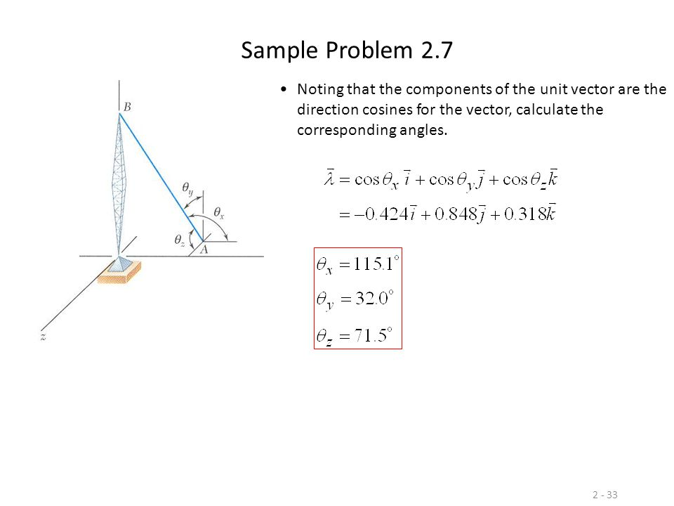 Sample Problem 2.7 Noting that the components of the unit vector are the direction cosines for the vector, calculate the corresponding angles.