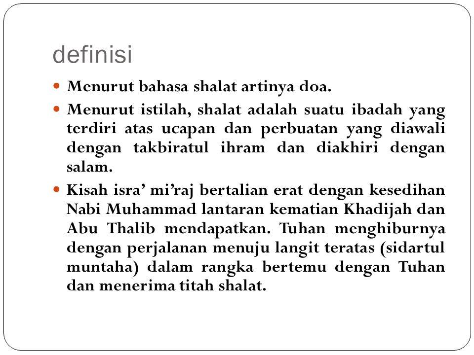definisi Menurut bahasa shalat artinya doa.