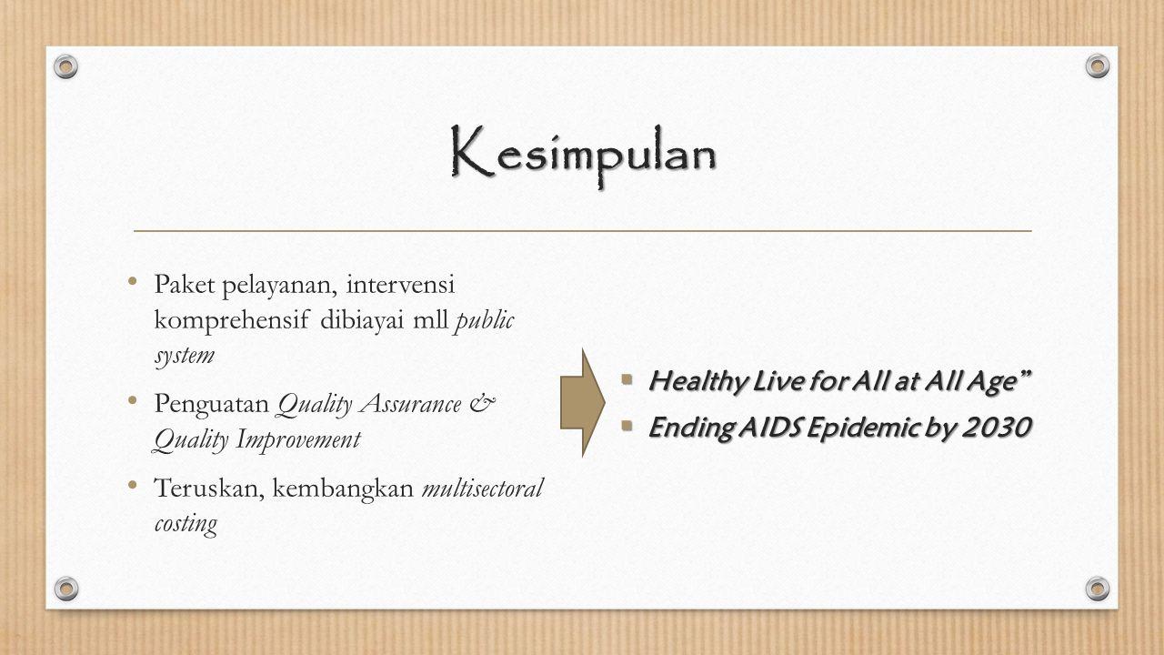 Kesimpulan Paket pelayanan, intervensi komprehensif dibiayai mll public system. Penguatan Quality Assurance & Quality Improvement.