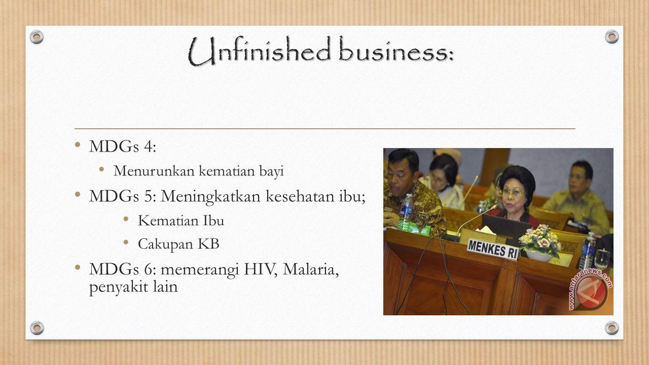 Unfinished business: MDGs 4: MDGs 5: Meningkatkan kesehatan ibu;