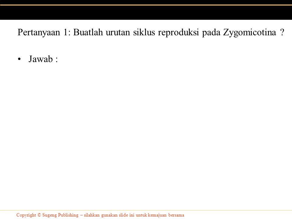 Pertanyaan 1: Buatlah urutan siklus reproduksi pada Zygomicotina
