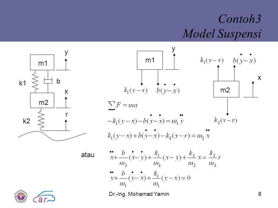 Contoh3 Model Suspensi y y m1 m1 x b k1 m2 x m2 r k2 atau