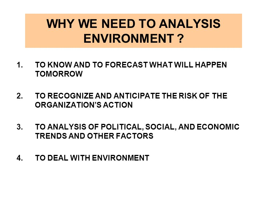 WHY WE NEED TO ANALYSIS ENVIRONMENT