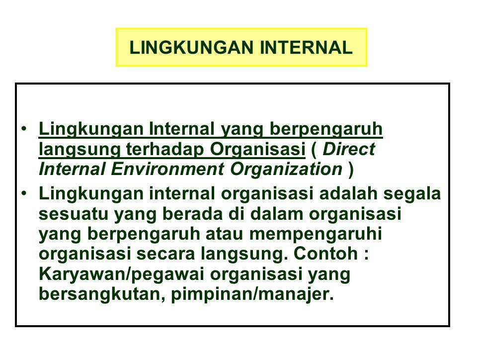 LINGKUNGAN INTERNAL Lingkungan Internal yang berpengaruh langsung terhadap Organisasi ( Direct Internal Environment Organization )