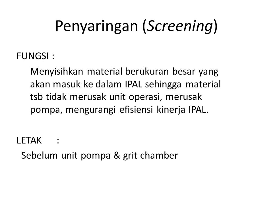 Penyaringan (Screening)