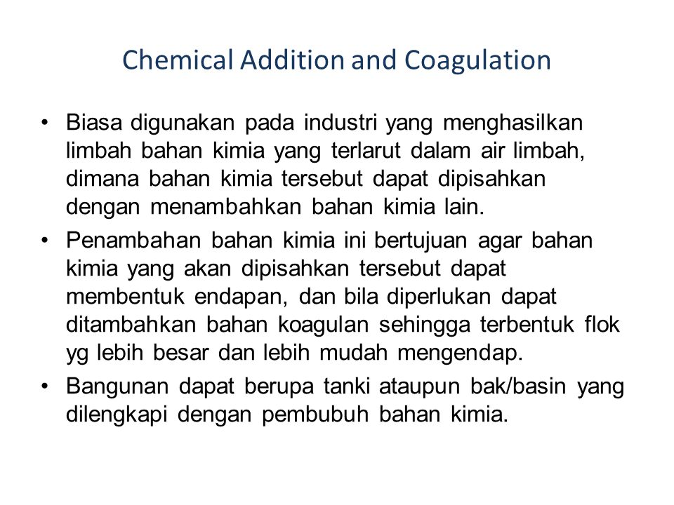 Chemical Addition and Coagulation