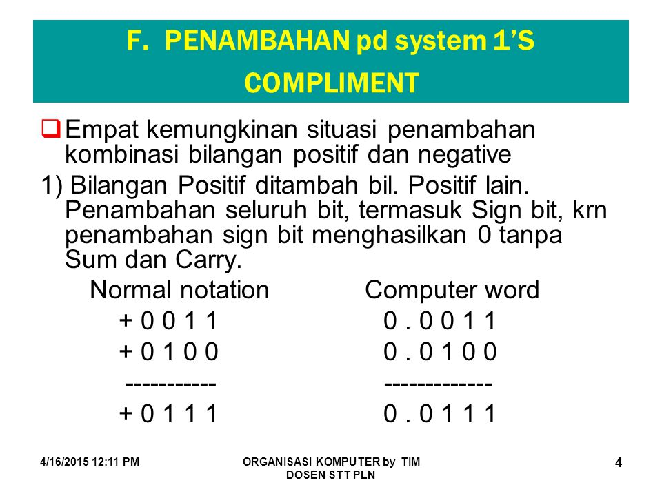 F. PENAMBAHAN pd system 1'S COMPLIMENT