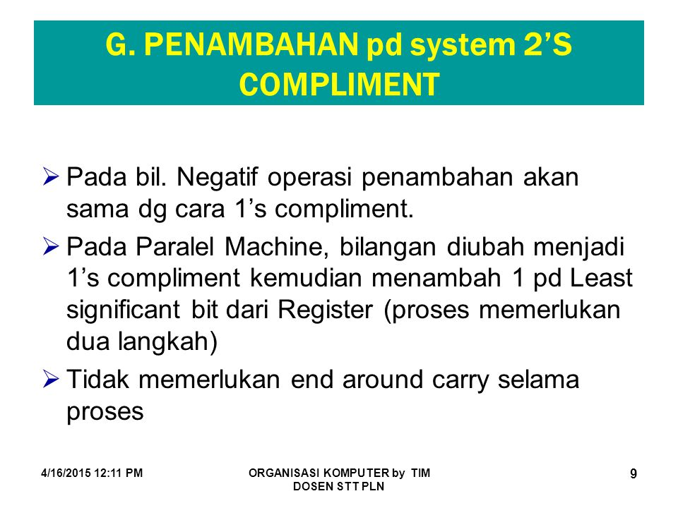 G. PENAMBAHAN pd system 2'S COMPLIMENT