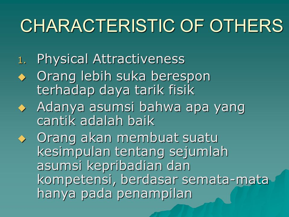 CHARACTERISTIC OF OTHERS