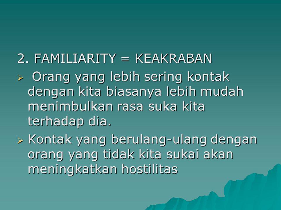 2. FAMILIARITY = KEAKRABAN