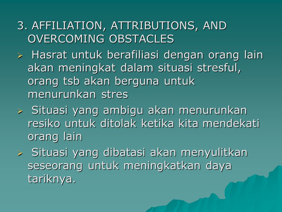 3. AFFILIATION, ATTRIBUTIONS, AND OVERCOMING OBSTACLES
