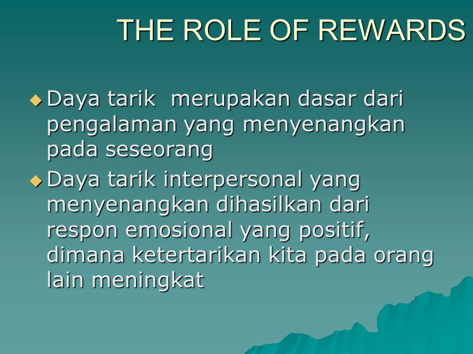 THE ROLE OF REWARDS Daya tarik merupakan dasar dari pengalaman yang menyenangkan pada seseorang.